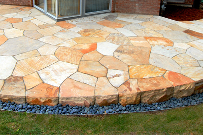 Colorado buff sandstone dry laid patio - photo Russ Croop