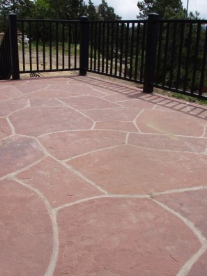 Lyons red sandstone mortared patio