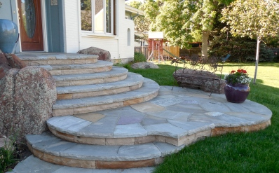 Dry laid steps, Tennessee grey treads and CO buff sandstone risers