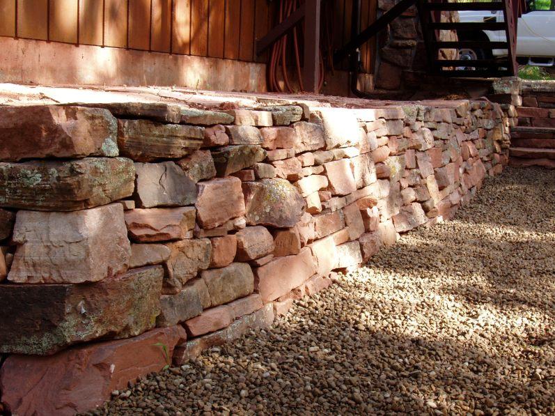 Dry laid fieldstone wall