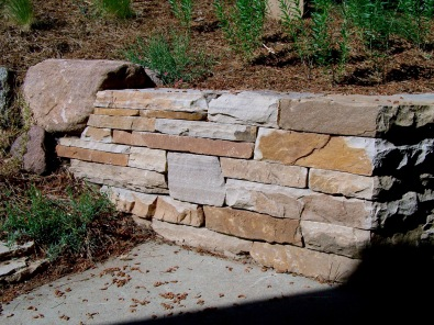 Colorado buff sandstone dry laid wall