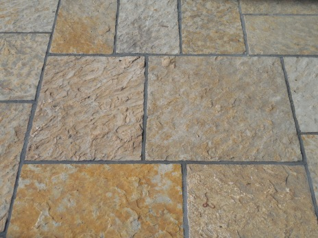 Mortared ashlar patio built with New Mexican buff sandstone
