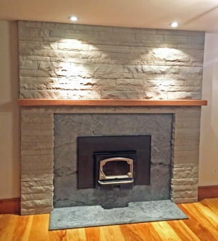 Wood burning insert, Tennessee grey sandstone veneer and soapstone surround
