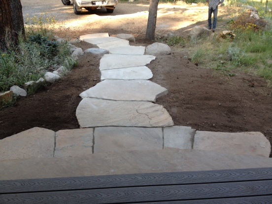 Dry laid path and steps, Colorado buff sandstone