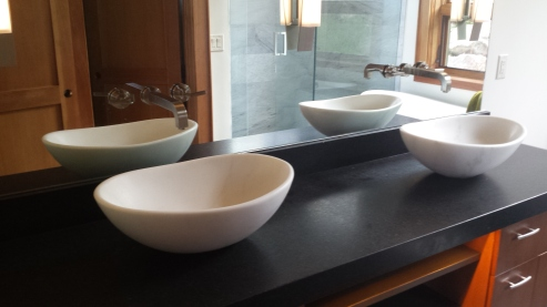 Matching Colorado Yule marble vessel sinks