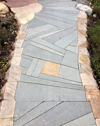 Dry laid path, buff, red and bluestone mix. Layout Kimmerjae Johnson