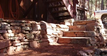 Fieldstone steps, dry laid