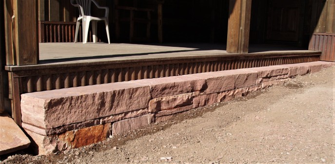 Lyons red sandstone dry laid step