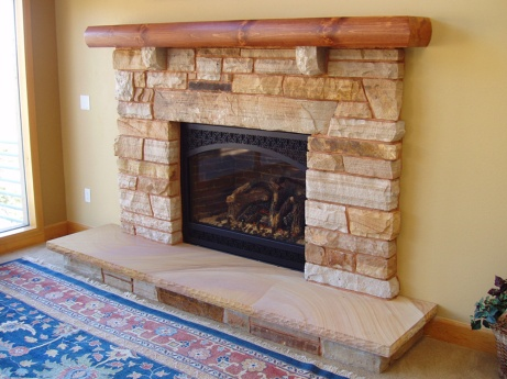 Colorado buff sandstone fireplace veneer