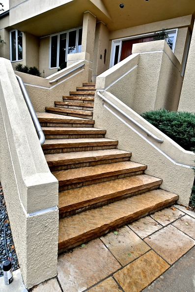 New Mexican sandstone mortared steps - photo Russ Croop