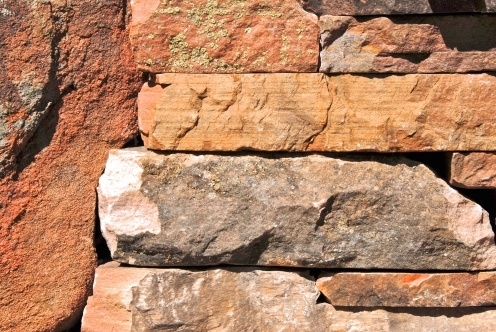 Mixed sandstone wall detail - photo Russ Croop