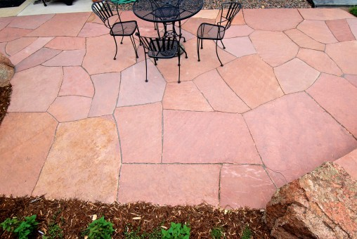Dry laid patio, Lyons red sandstone - photo Russ Croop