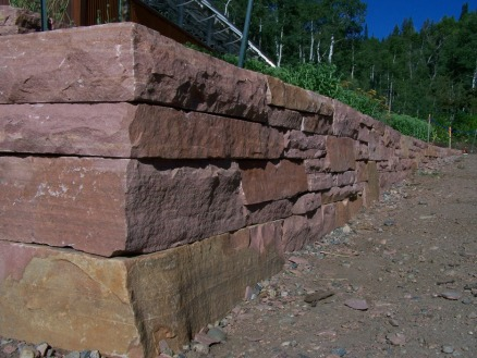Dry laid retaining walls, Lyons red sandstone