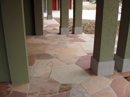 Mortared patio entry, mixed Colorado sandstone - photo Russ Croop