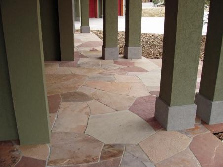 Mortared patio entry, mixed Colorado sandstone - photo Russ Croop